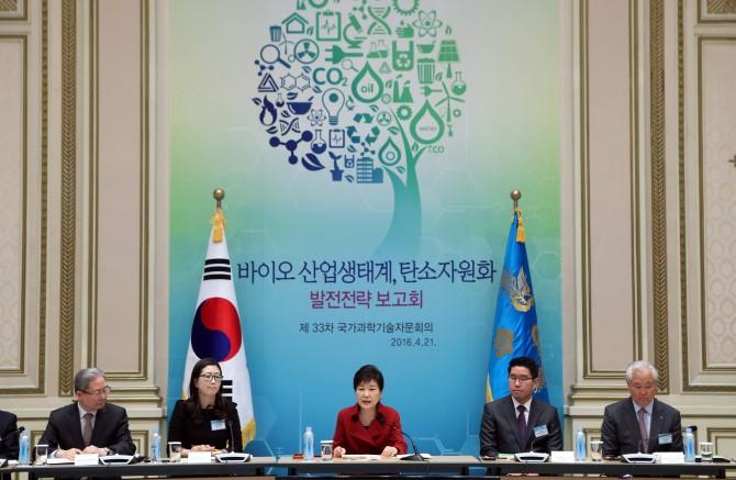21일 박근혜 대통령 주재로 개최된 제33차 국가과학기술자문회의에서는 탄소를 자원화하는 기술 발전전략이 보고됐다. - 청와대 제공